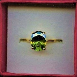 Ring, Peridot Solitaire, 9x10mm , New in box 7.5